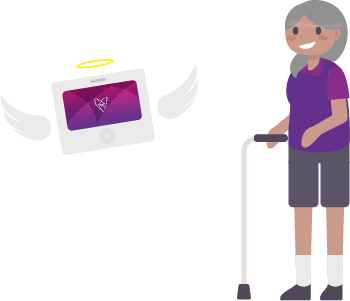 elderly with hub as guardian angle